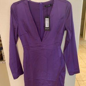 Nasty gal mini satin slip dress purple